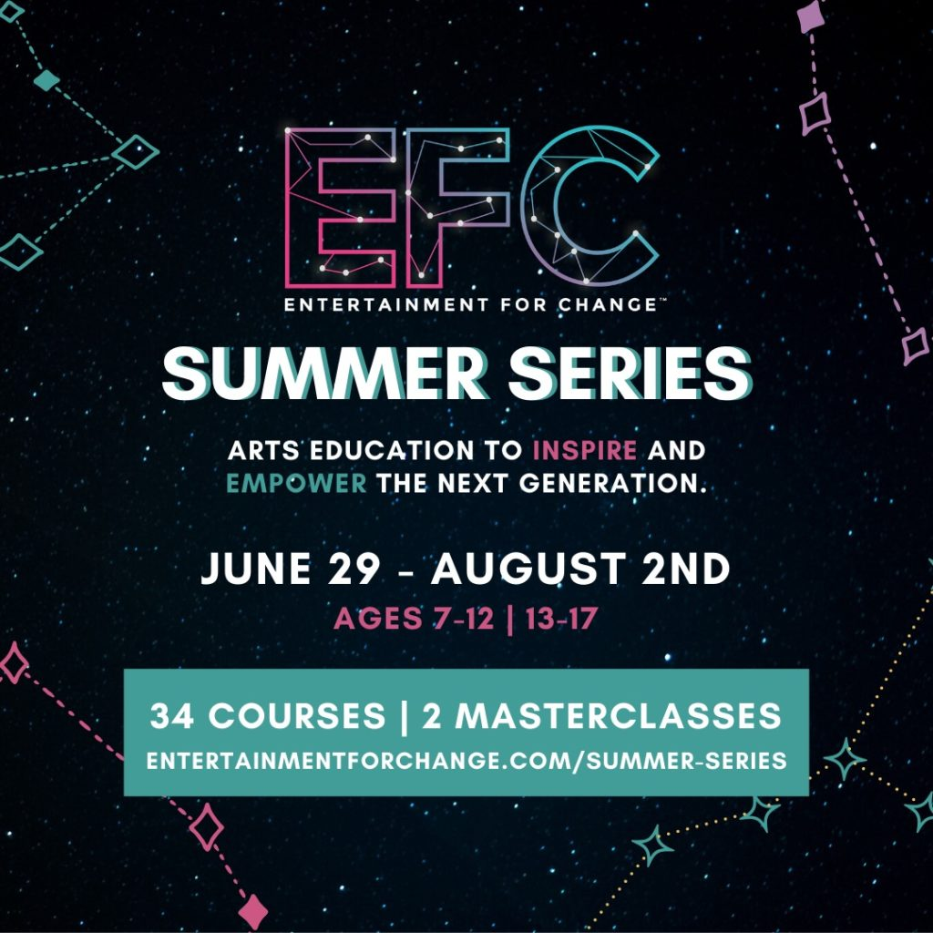 Emerson alumna and impact artist, Jade Zaroff '16 and her nonprofit, Entertainment for Change (EFC) is is offering 34 new online courses this July and August, designed to inspire sustainability activism and led by Broadway and arts and entertainment professionals.