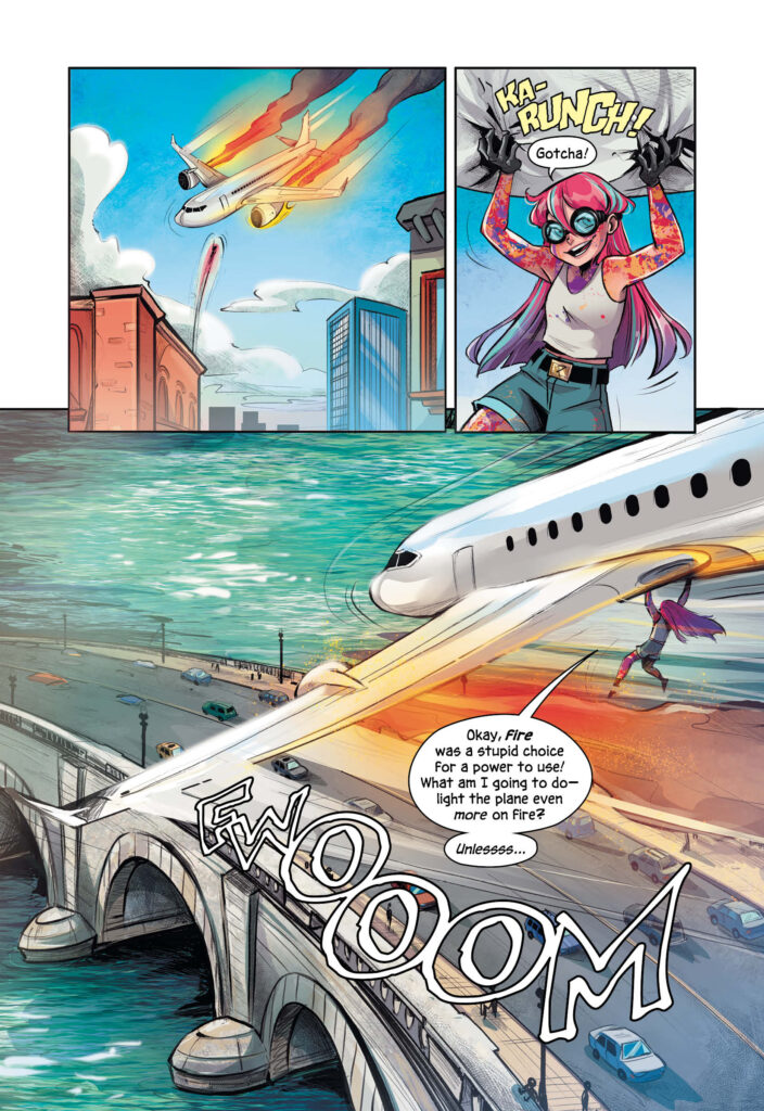 A cartoon of a girl holding up a plane in the air.
