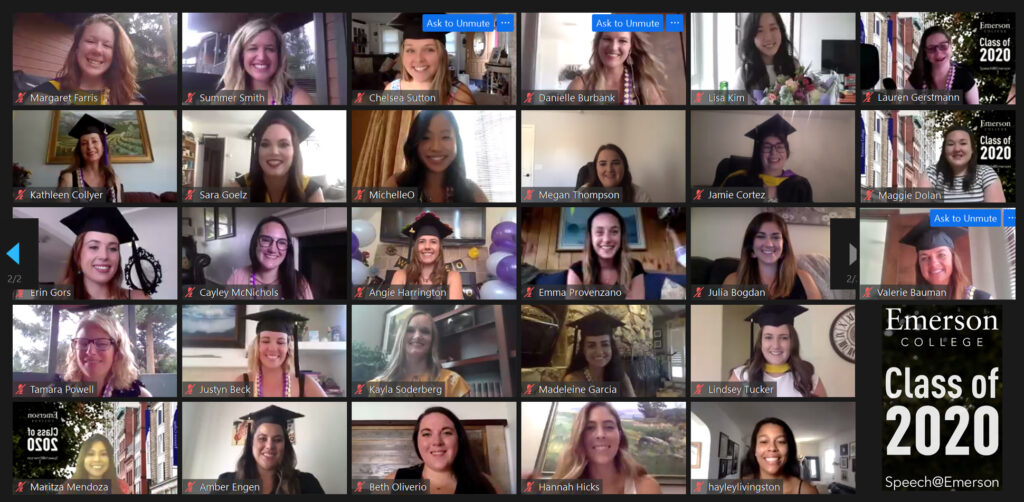 The first ever graduating cohort in Speech@Emerson, Emerson's online master's degree program in speech-language pathology, recognize their historic milestone during a virtual celebration on Aug. 23, 2020.