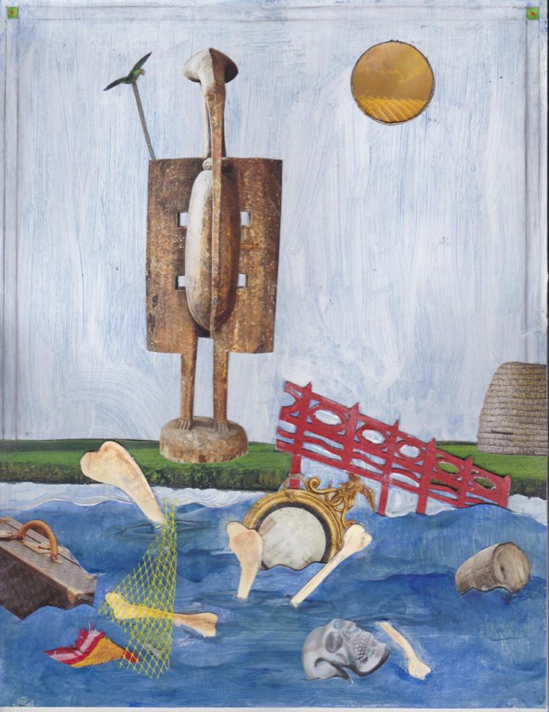 painting of bones and debris floating in water