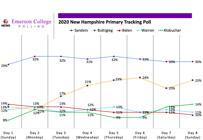 Results of 2020 New Hampshire Primary Tracking Poll