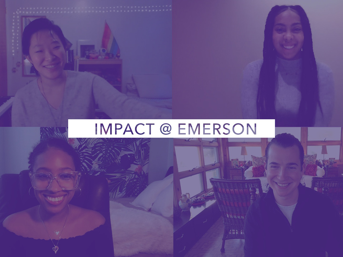 Screenshots of four students under purple filter