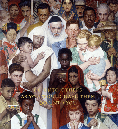 A drawing of many people and children of different races and religions