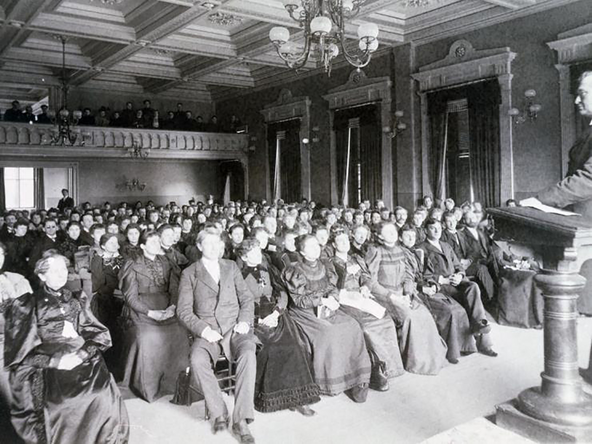 19th century audience listening to recital