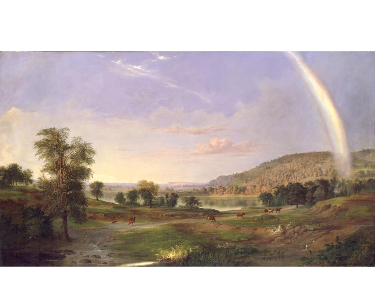 A painting showing a green valley with trees and a rainbow across the sky