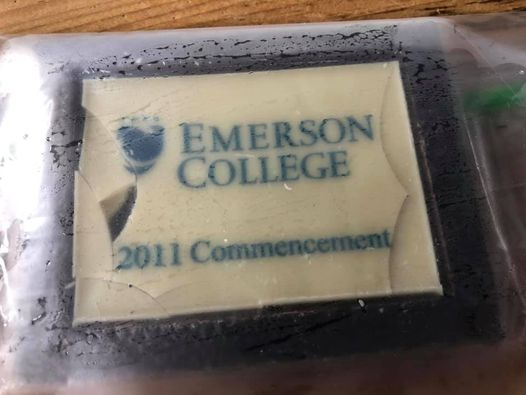 A chocolate dessert topping that reads Emerson College 2011 Commencement