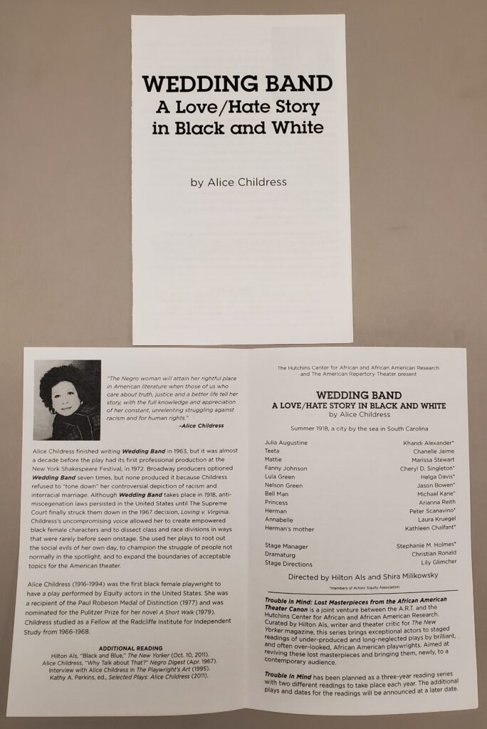 A program from the play Wedding Band by Alice Childress