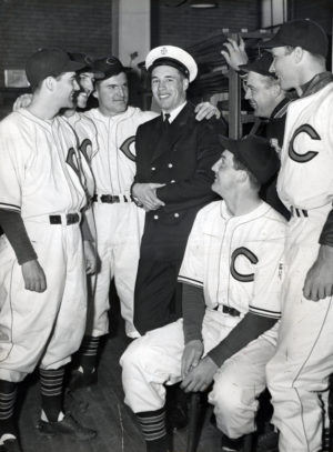 Bob Feller in Navy uniform with baseball teammates