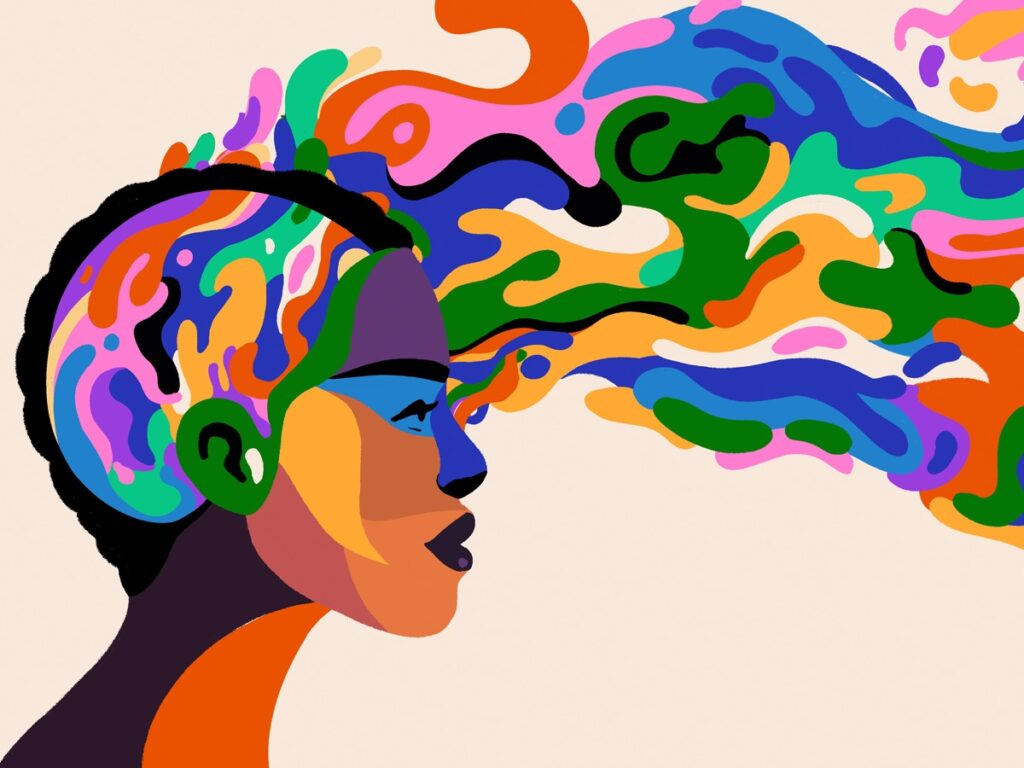 Graphic - woman of color with swirls of color flowing from head