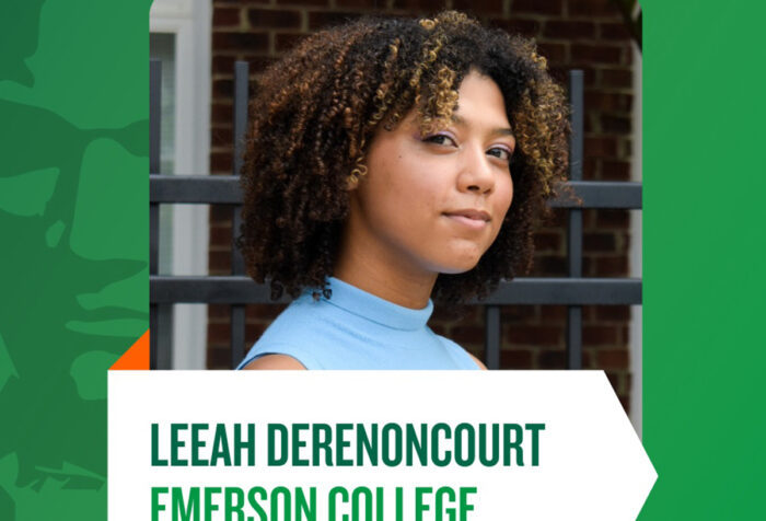 Leeah Derenoncourt head shot embedded in poster