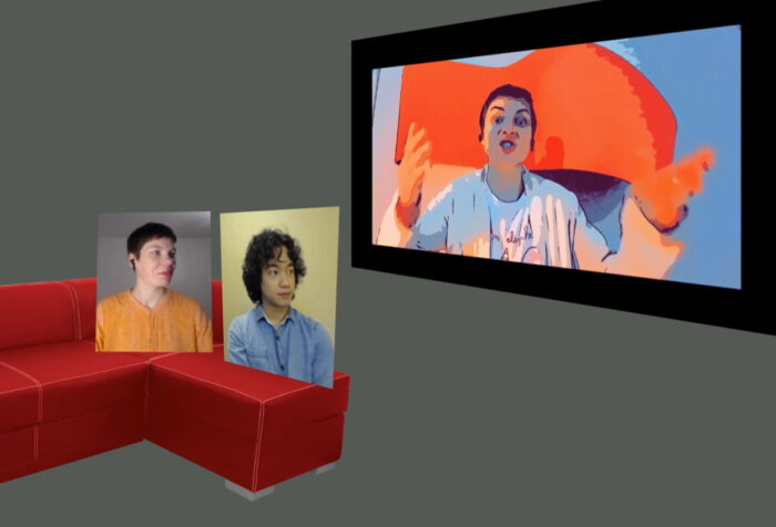 man on screen shouting while two heads on screens perched on couch watch