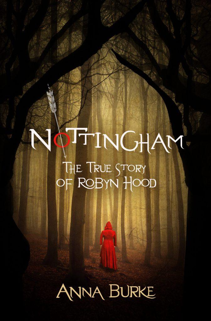 Nottingham book jacket woman in red cloak in woods