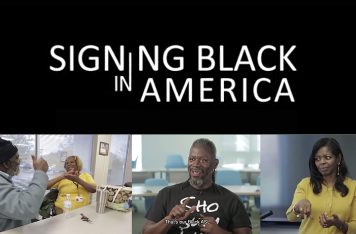 event poster featuring photos of Black people signing