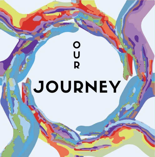 Our Journey logo: black text inside circle of multi-colored hands