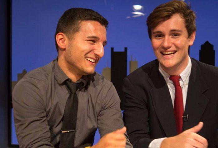 Dan Vignolo and Matt Harrison on Emerson TV set
