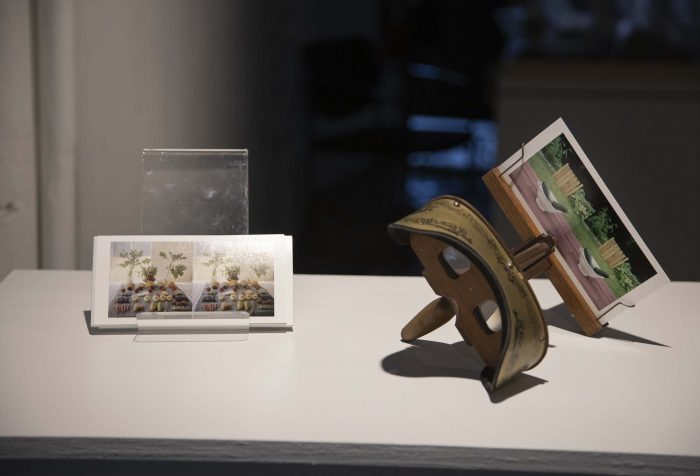 photos and objects on a table