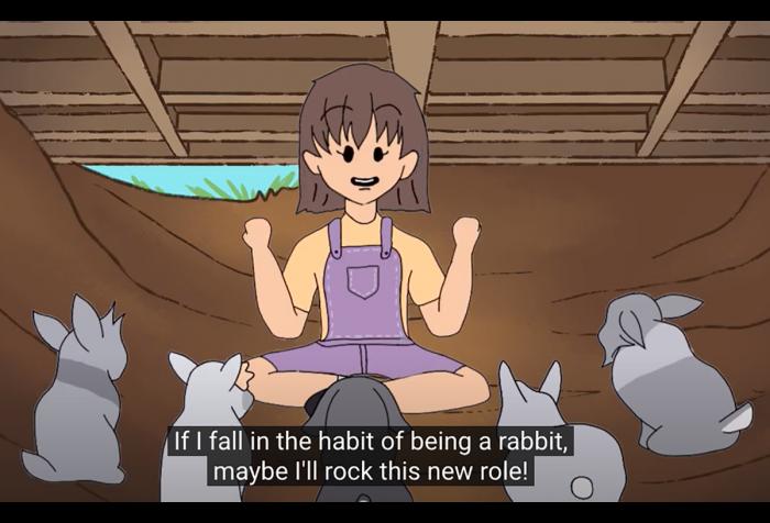 A cartoon of a girl with bunnies