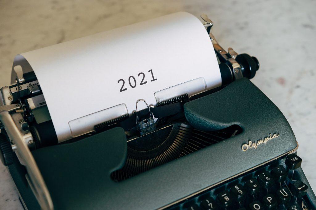 """""""2021"""" on a typewriter"""