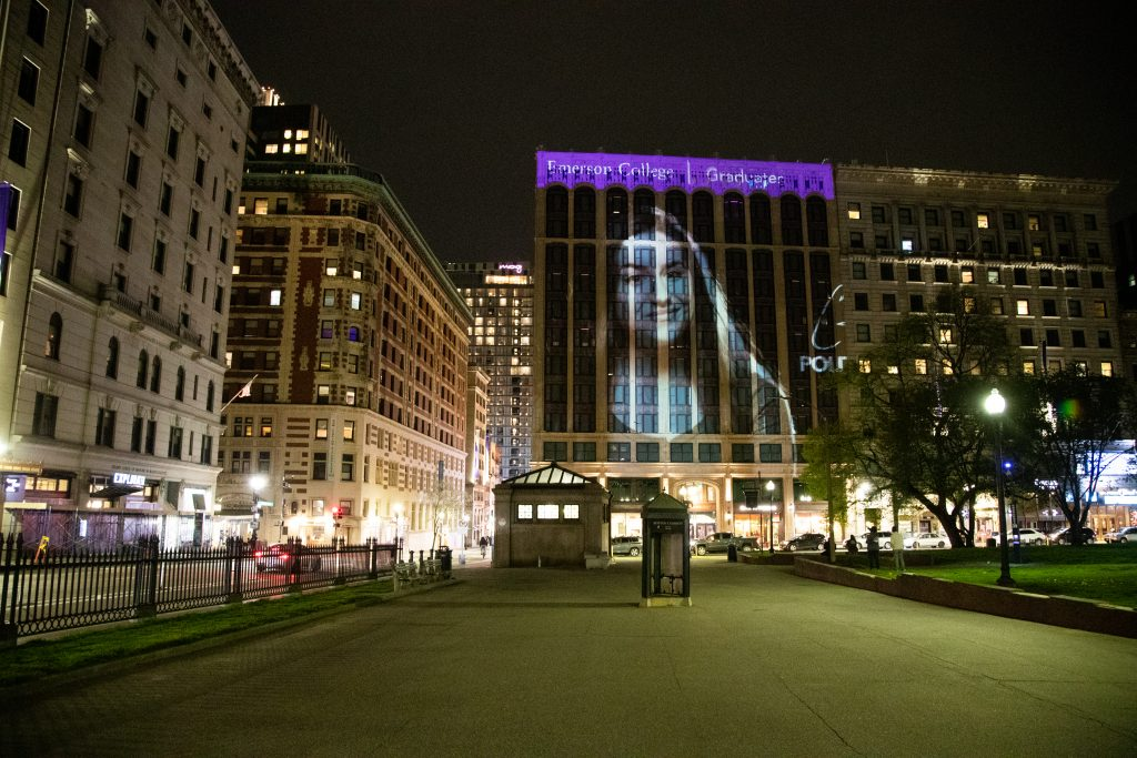 A student image projected onto the Little Building