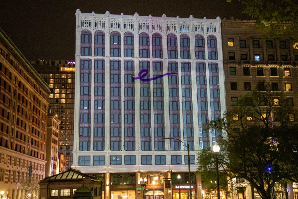 A script e projected onto the Little Building