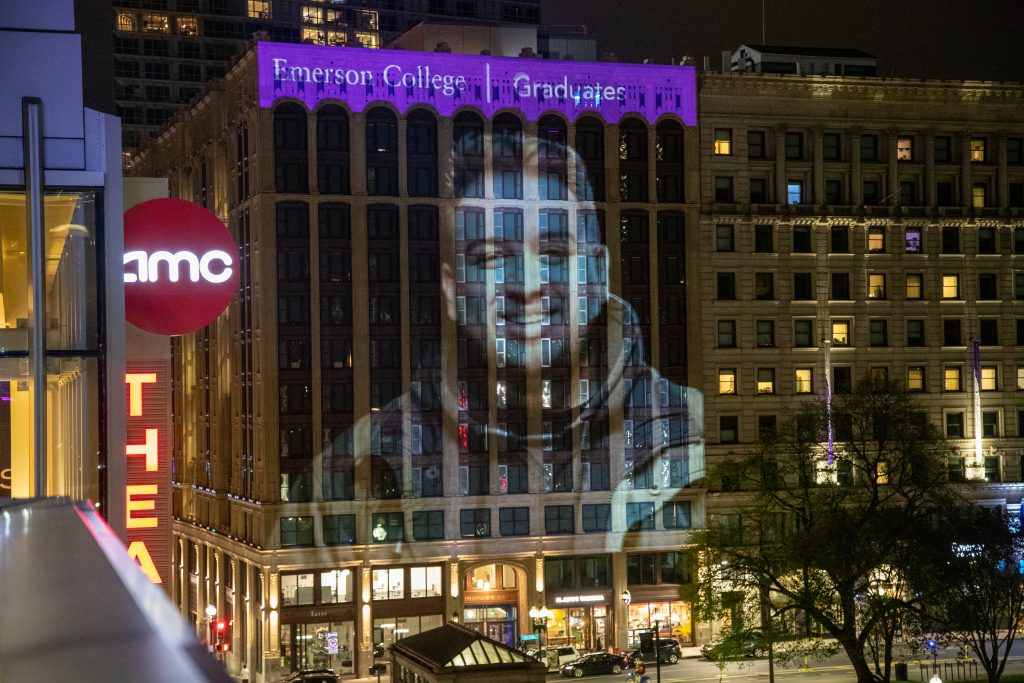 Picture of a student projected onto the Little Building