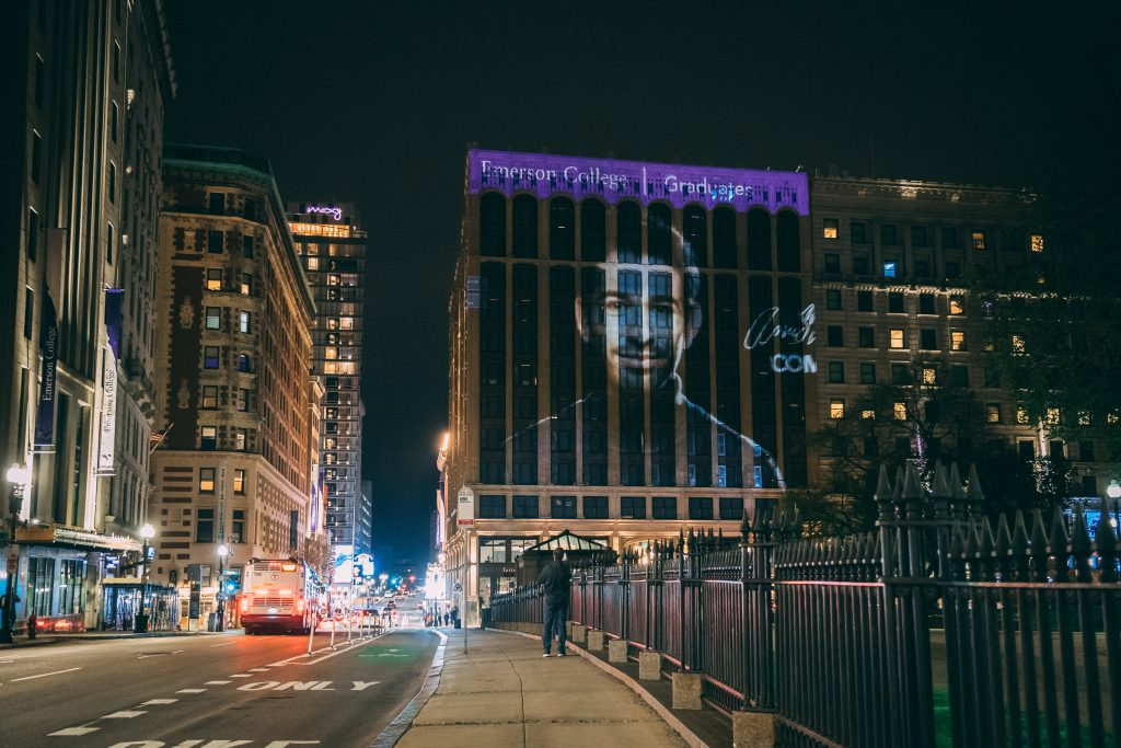 A projection of a student onto the Little Building