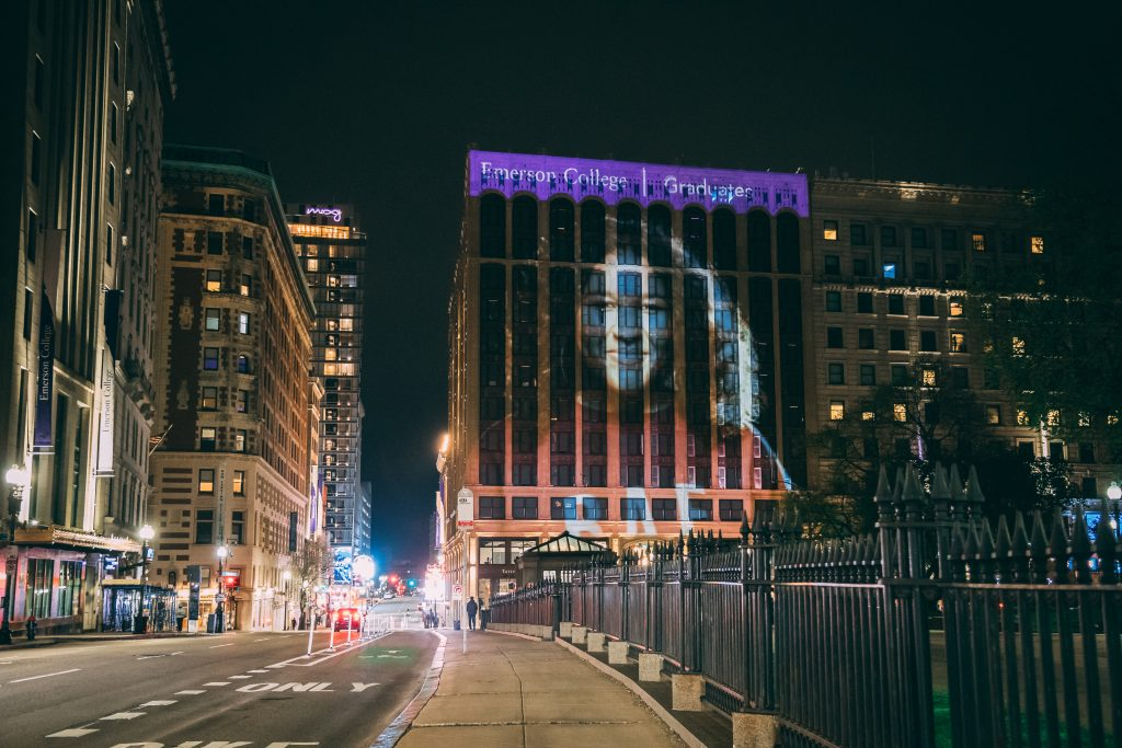 Looking at the projection show from Tremont Street