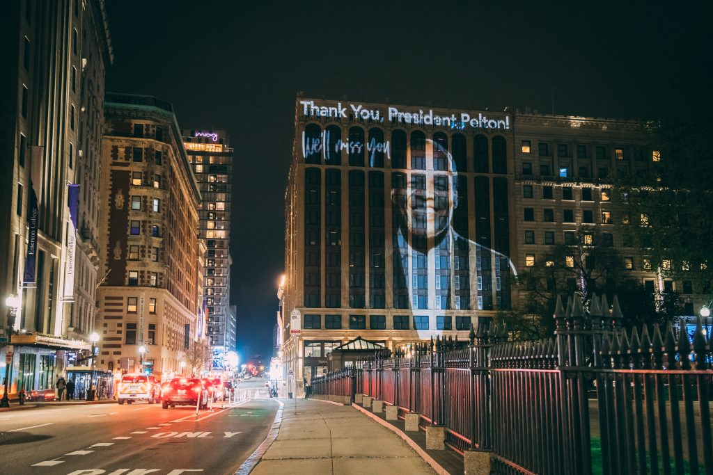 A projection of President Pelton on the Little Building