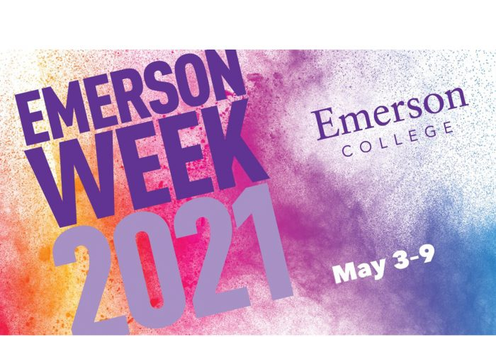 Text reads Emerson Week 2021 May 3 - 9