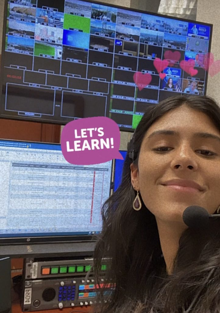 Natalie Benoit '20 stops for a selfie during her Hearst TV producing fellowship at WMUR TV in NH.