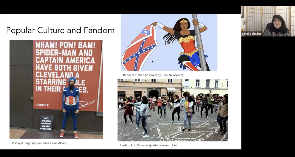 The Social Justice + Media Symposium keynote speaker Sangita Shresthova, who is the director of research and programs of the Civic Paths Group based at the University of Southern California, discusses Popular Culture and Fandom.