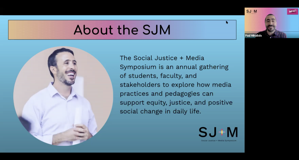 Professor and Assistant Dean Paul Mihailidis introduces the impetus behind The Social Justice + Media Symposium: the late Journalism Professor and alumnus, Moses Shumow MA'01.