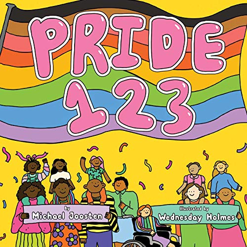 Cover of Pride 1 2 3 includes several drawings of people with streamers coming down and smiling