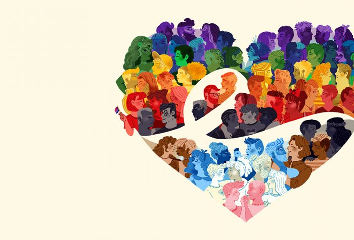 graphic of LGBTQ couples in rainbow colors, arranged in a heart shape