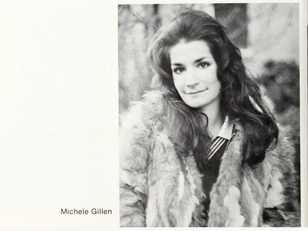 black and white portrait of Michele Gillen in fur coat