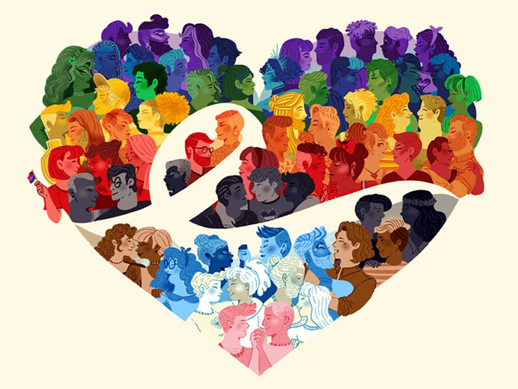 A drawing of a rainbow heart with renderings of people as part of the heart
