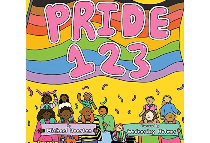 Cover of book Pride 1 2 3 includes a drawing of numerous people smiling with some streamers coming down