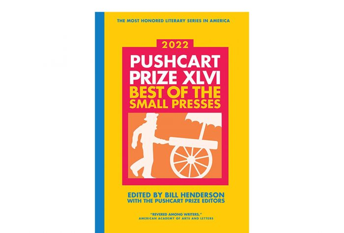 book cover of 2022 Pushcart Prize anthology, with silhouette of man with pushcart