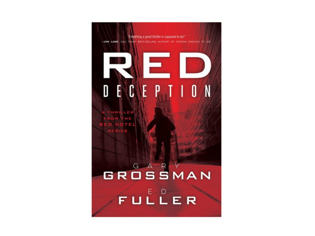 Red Deception book jacket featuring man running between two high walls