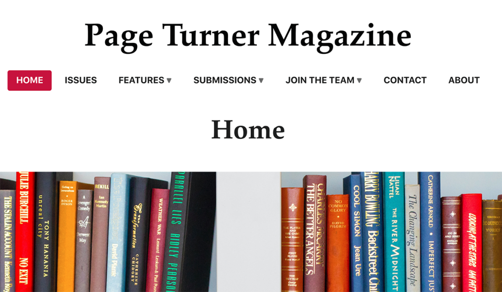 Homepage of Page Turner Magazine with lots of books on a shelf