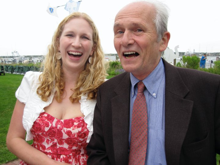 Woman and man laughing