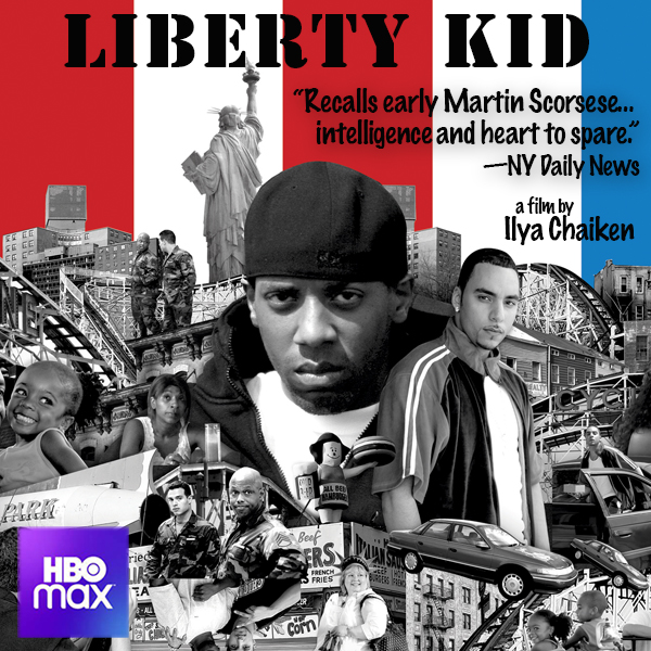 """montage of black and white photos of people and buildings over red white and blue stripes; words """"Liberty Kid"""""""
