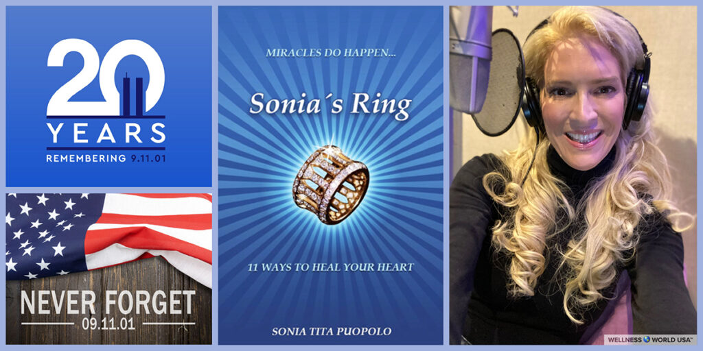 banner featuring U.S. flag graphics, book jacket, and Tita Puopolo behind a mic