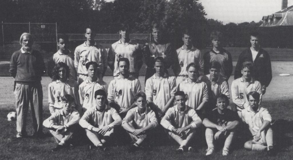 black and white soccer team photo