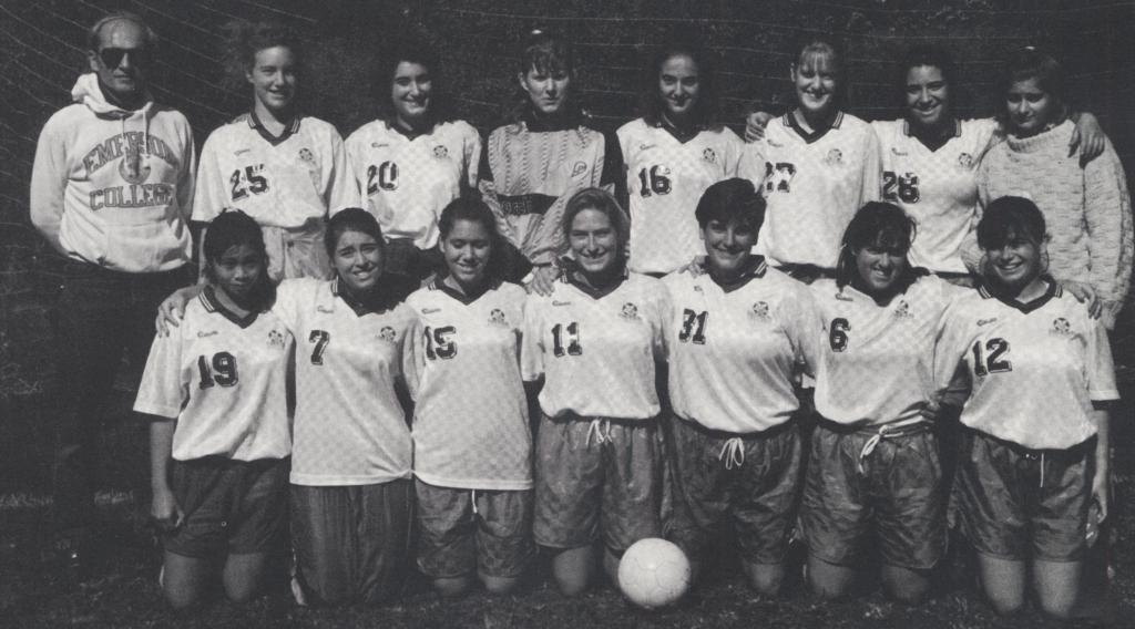 black and white women's soccer team photo