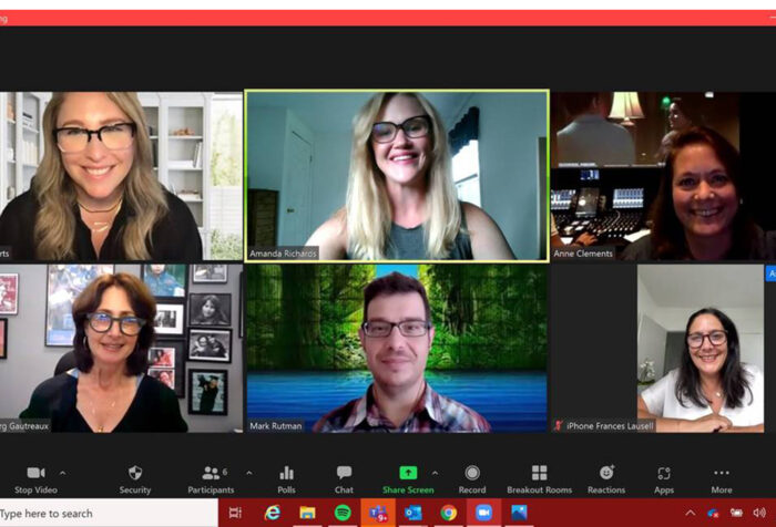 Six alums on a Zoom meeting