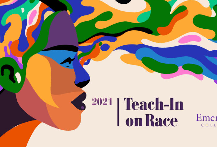 Teach In graphic depicting woman of color with multicolored hair