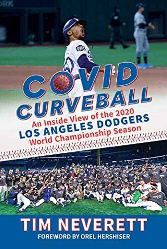photo of COVID Curveball book jacket featuring photos of Dodgers players